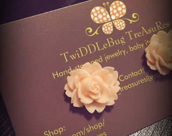 Pink Vintage Resin Ruffle Rose Flower Cabochon Earrings