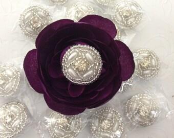 25 Rhinestone Buttons  Pearl Rhinestone, Wedding Button, Rhinestone Pearl Bouquet