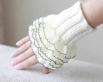 Ivory and Red Heart Fingerless Gloves / Crochet Hand Warmers, Knit, Womens Crocheted Winter Accessory