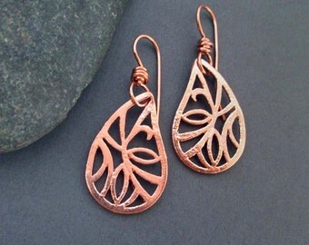 Copper Teardrop Earrings Paisley Filigree Dangle Earrings Artisan Handmade Modern Metal Casual Everyday Jewelry