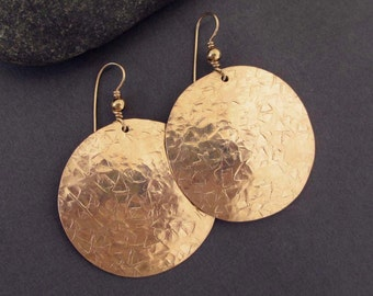 Large Gold Disc Earrings Hammered Brass Earrings with Faceted Texture Artisan Handmade Jewelry Metal Modern Tribal Earrings