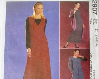 McCalls 2907 Easy Pullover dress or Top and Jumper Sewing Pattern Bust 32 34 36