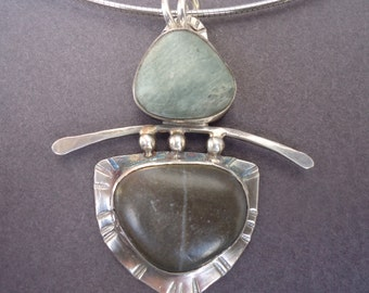 Sterling  Silver Beach Stone Pendant
