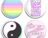 Not Your Babe Pastel Goth Soft Grunge Kawaii (Set 3) Button Badges - 4 Pack