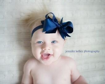 Baby Girls Headband, Baby Headband, Girls Headband, Elastic Headband, Basic Bow Headband, Bow Headband, Large Headband, Navy Headband