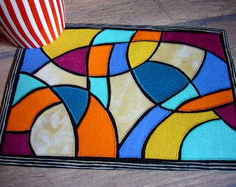 Art Stained Glass Mug Rug pattern INSTANT DOWNLOAD PDF appliqued abstract