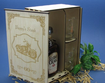 Wood Spirits Gift Box with 2 Personalized Etched Glasses