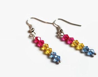 Pansexual pride earrings- crystal earrings
