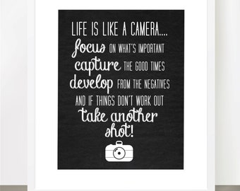Life Is Like A Camera - Chalkboard Print, Camera, Inspirational, 8x10, 11x14, 16x20, Shabby, Rustic, Motivational, Photography, Life Lesson
