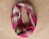 Cotton Infinity Scarf - Pink Cream Tan Plaid - Brushed woven cotton flannel - ready to ship