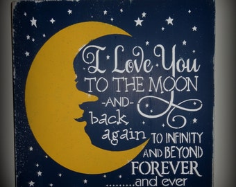I Love You To The Moon And Back Children's Bedroom Nursery Sign Decoration