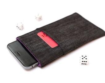 Nokia 6 sleeve, Nokia 5 sleeve case pouch handmade dark jeans and purple with pocket