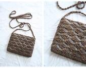 70s micro beaded purse - small beaded crossbody bag / Disco - vintage 1970s / Bronze beads