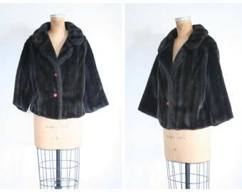 vintage 1950s classic faux fur coat - Winter fur jacket / espresso brown fur coat - 1950s glamour / 50s ladies vegan fur coat