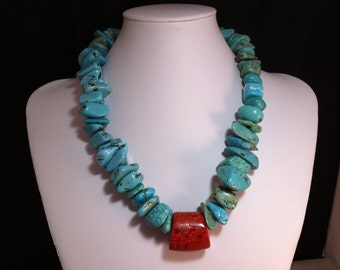 Large Stone Faux Turquoise Necklace, Turquoise Necklace, Statement Necklace