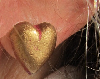 Heart -shaped Gold on Pink Post Earrings