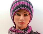 BEAUTIFUL set: Hat and Infinity scarf. Yarn color,  Colors include fuchsia, black, grey. Crocheted scarf. Knitted hat. Women's Med. to Lg.