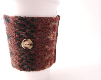 Coffee Cozy BROWN FAIR ISLE Sweater Wool Coffee Cosy / Coffee Sleeve / Coffee Sweater by WormeWoole