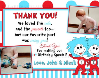 Dr. Suess ABC Thank You Card / Dr Seuss Thank You Card / Thing 1 Thing 2  / Cat in the Hat / Dr Seuss ABC Digital File 1st 2nd 3rd 5x7