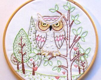 Heart Tree Owl - PDF Hand Embroidery Pattern