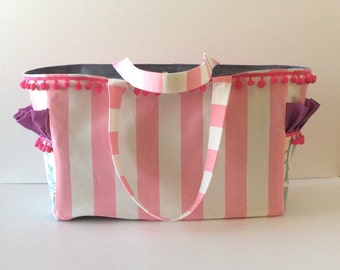 MADE TO ORDER Boutique Pink Stripe diaper bag, pom pom trim, ruffled pockets, waterproof lining, magnetic closure