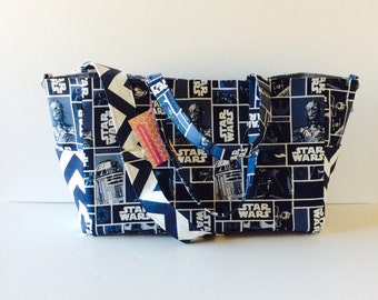MADE TO ORDER  Star Wars Diaper Bag, Waterproof lining, Magnetic closure, long adjustable strap