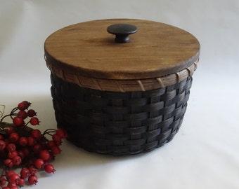 Storage Basket-Paper Plate Basket-Round Basket-Handwoven Basket/Primitive Style