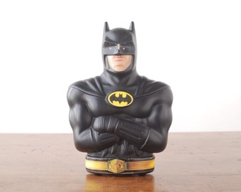 Batman coin bank, Michael Keaton, vintage 1989 black and yellow plastic cereal promotion for Tim Burton movie, piggy bank collectible figure