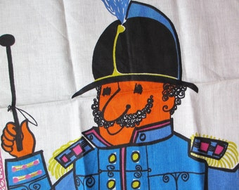 At your service. Vtg Zucchi towel by Brigitte. Never used, great condition. Soldier, officer, guard, man in uniform.