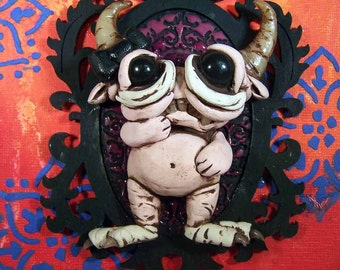 Pink Girl Monster Boho mixed media canva 5x7 original polymerclay sculptur attached a Covington Creation collectible