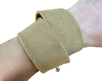 Double Wrap khaki suede leather cuff ,Soft upcycled leather cuff ,Wrap Bracelet ,Double bracelets soft green