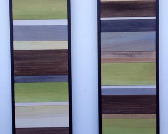 Wood Wall Art - Wood Art - Reclaimed Wood Art - Color Block Collection - 16x40 set