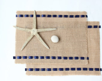 Burlap Table Placemats Adorned with Satin Ribbon - Rustic Nautical Home Decor - Elegant Dining