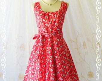 SALE My Lady - Cutie Heart Print On Red BG All Season Dress Red Sundress Vintage Design Red Party Dress Tea Dress Red Bridesmaid Dress