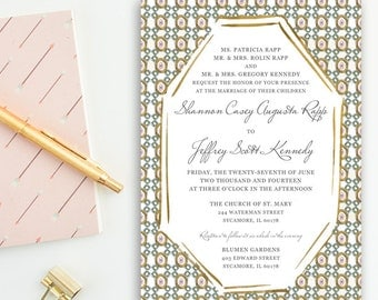 Art Deco, Painted Octagon Pattern, Gold, Mint Turquoise, & Blue Grey Wedding Invitations
