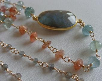 labradorite moss aquamarine sunstone wire wrapped necklace