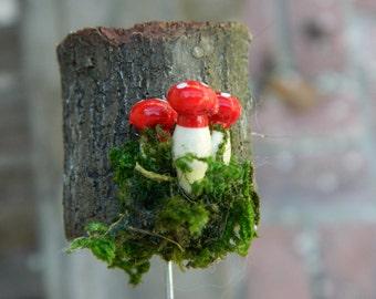 Fairy  Garden Stump Miniature Mushroom fairy garden Accessories Terrarium Accessories Woodland Garden