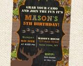 Hunting Birthday Invitation, Hunting Birthday, Camo Birthday