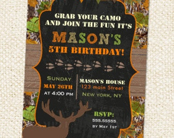 Hunting Birthday Invitation, Hunting Birthday, Camo Birthday