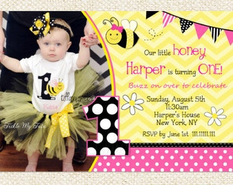 Pink Bumble Bee Birthday Invitations, Bee invitations, DIY Printable