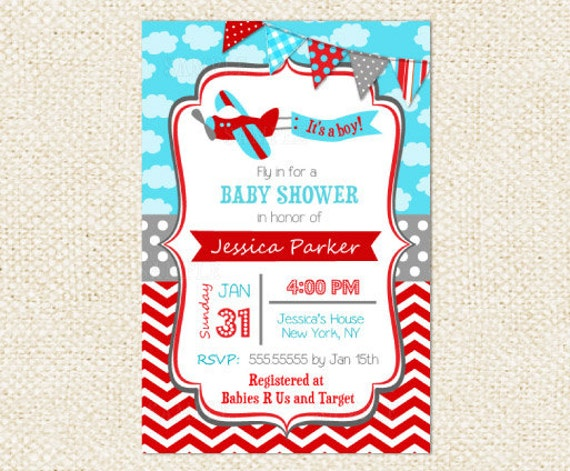 Airplane Baby Shower Invitations