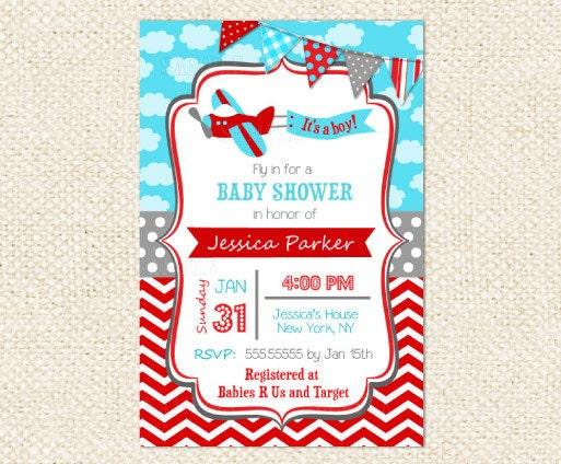 airplane baby shower invitations, Baby shower invitations