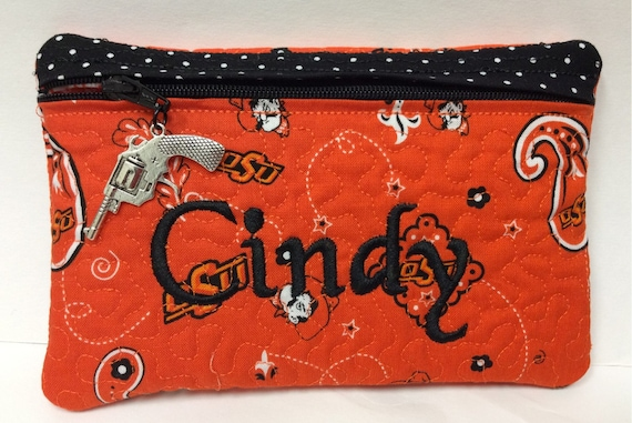 Oklahoma State University OSU Cowboys Zipper Pouch Bag Case Large Pistol charm