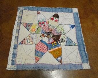 DELIGHTFUL STAR -Embellished Vintage Quilt Piece