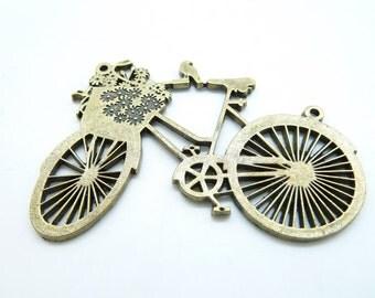 3pcs 42x58mm Antique Bronze Huge Filigree  Bike Charm Pendant Connector Link c5773