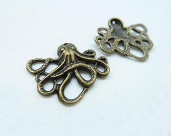 20pcs 21x24mm Antique Bronze Mini Small Octopus Fish Charm Pendant C2904