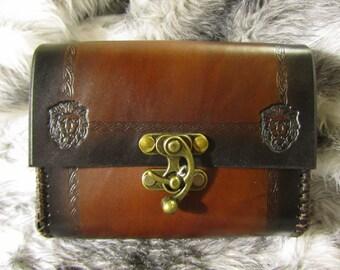 In-Stock Leather Belt Bag Medieval, Lion Head Design, Belt Pouch Medium, Leather Bag, LARP, SCA, Costume, Ren Faire, Black