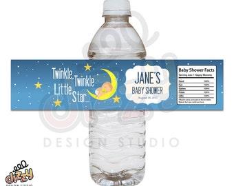 Twinkle Twinkle Baby Shower Water Bottle Label - DIY Printable File