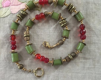 Vintage Venetian Beads with Red Bohemian beads and  African brass beautiful green and red necklace