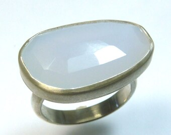 Large rose cut Lavender Chalcedony Ring
